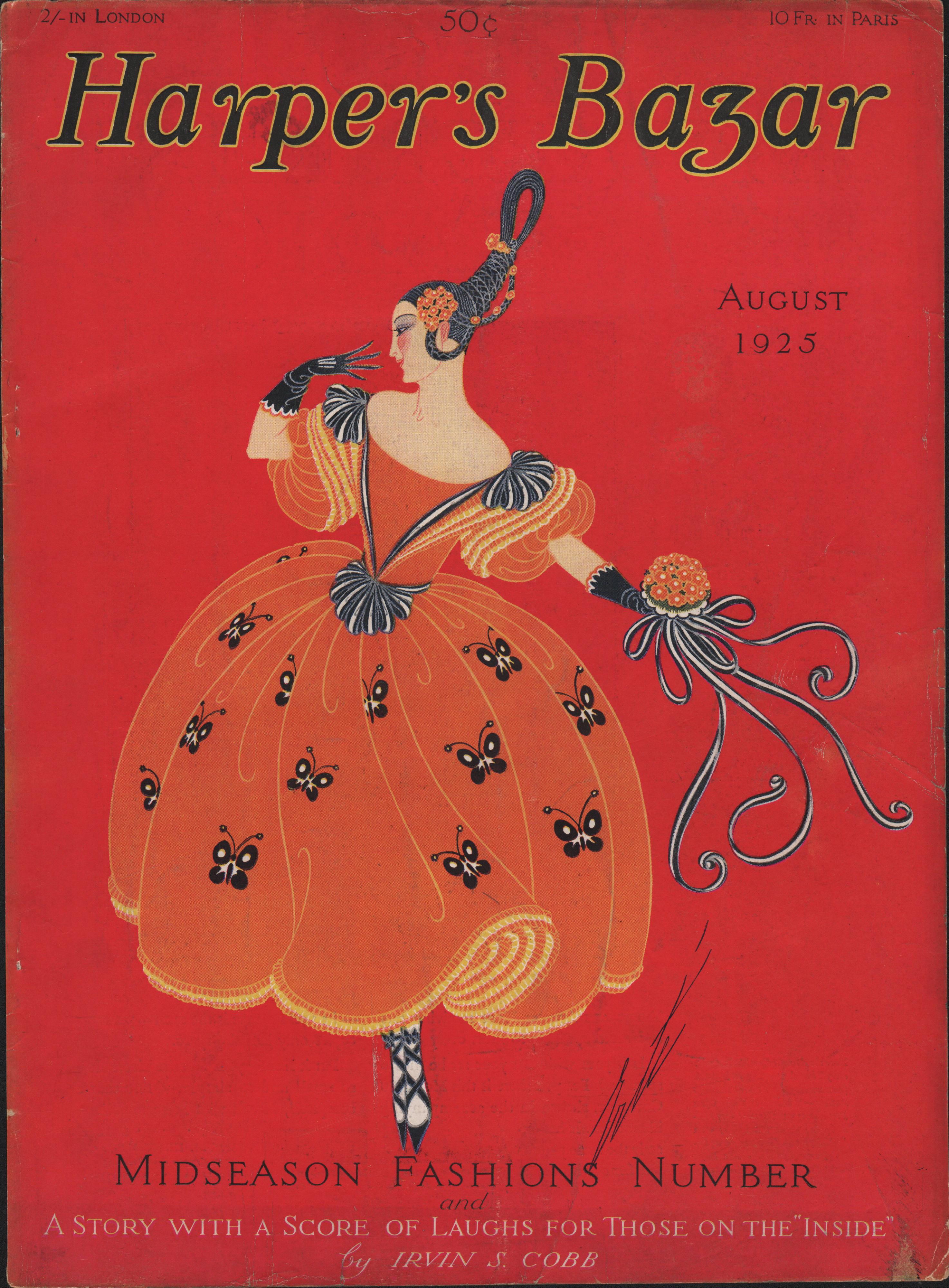 Harpers Bazar Bazaar Magazine Cover August 1925