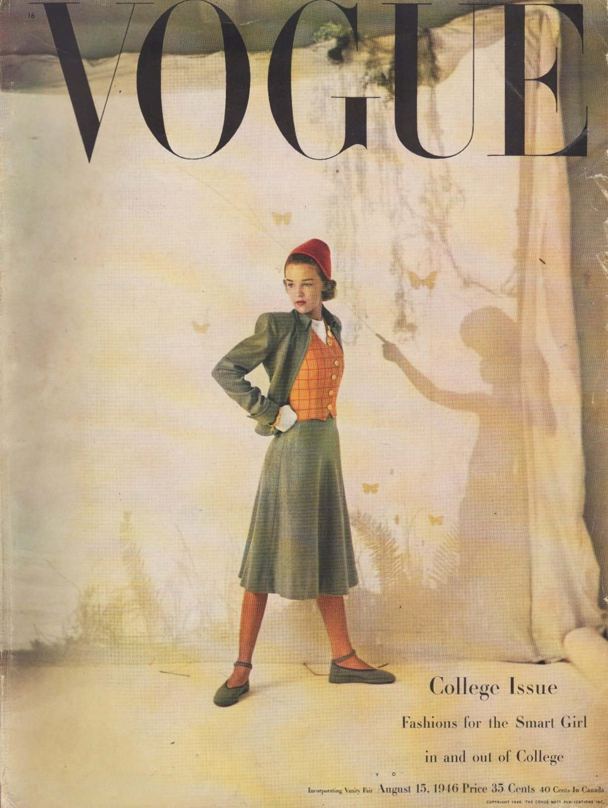 Image for Vogue Magazine, August 15, 1946  Fashions for the Smart Girl in and out of College.  COVER ONLY
