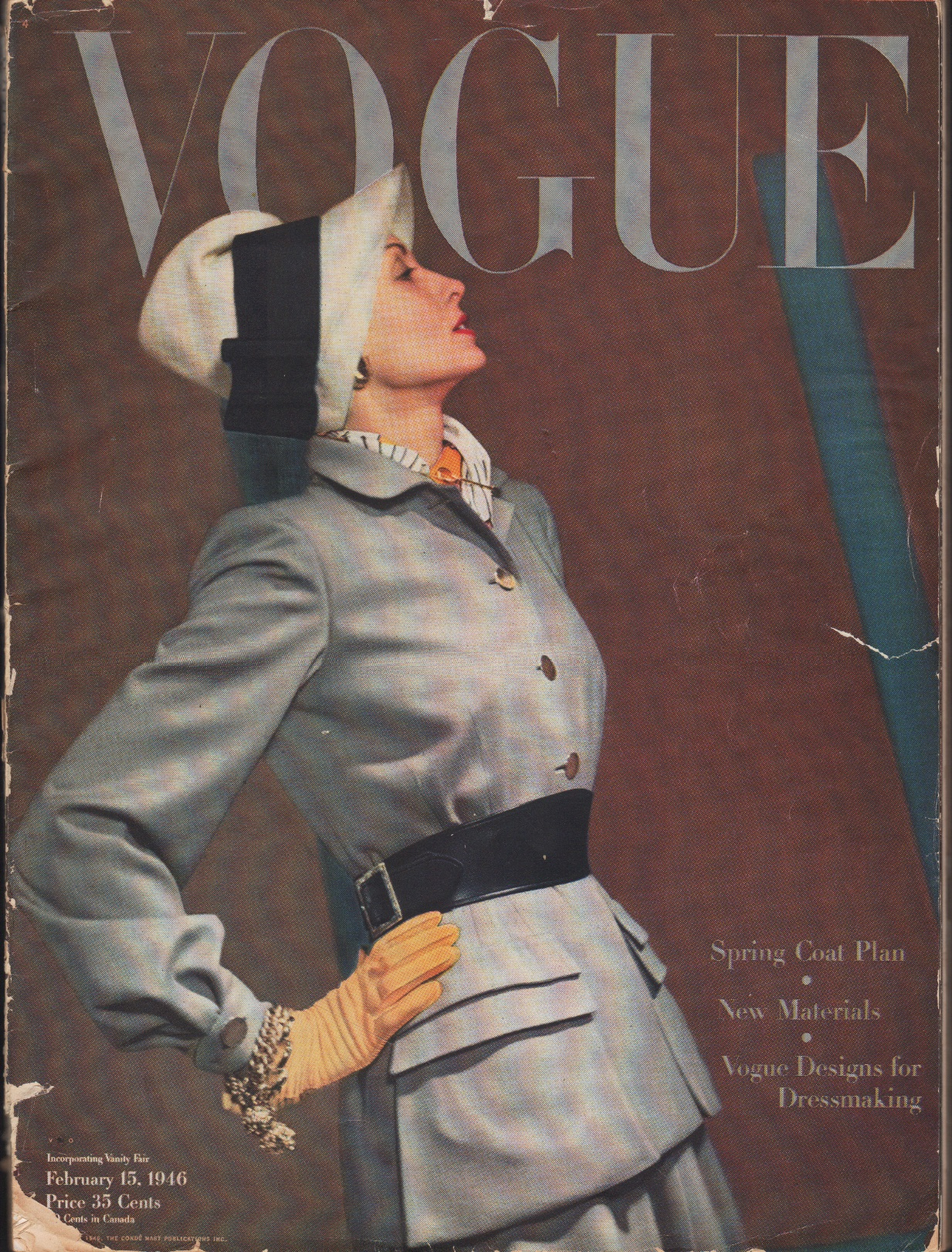 Image for Vogue Magazine, February 15, 1946 Spring Coat Plan, New Materials, Vogue Designs for Dressmaking