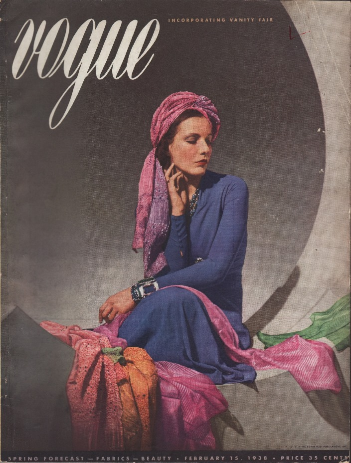 Image for Vogue Magazine, February 15, 1938 Spring Forecast - Fabrics - Beauty