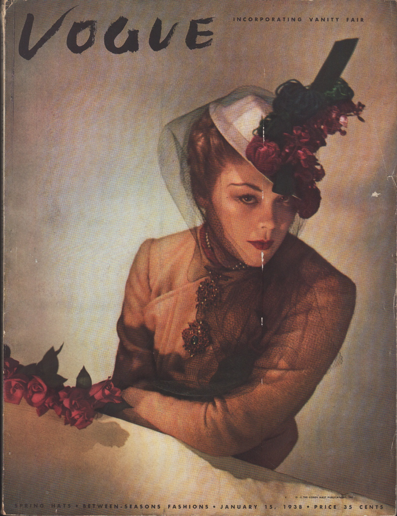 Image for Vogue Magazine, January 15, 1938 Spring Hats - Between Seasons Fashions