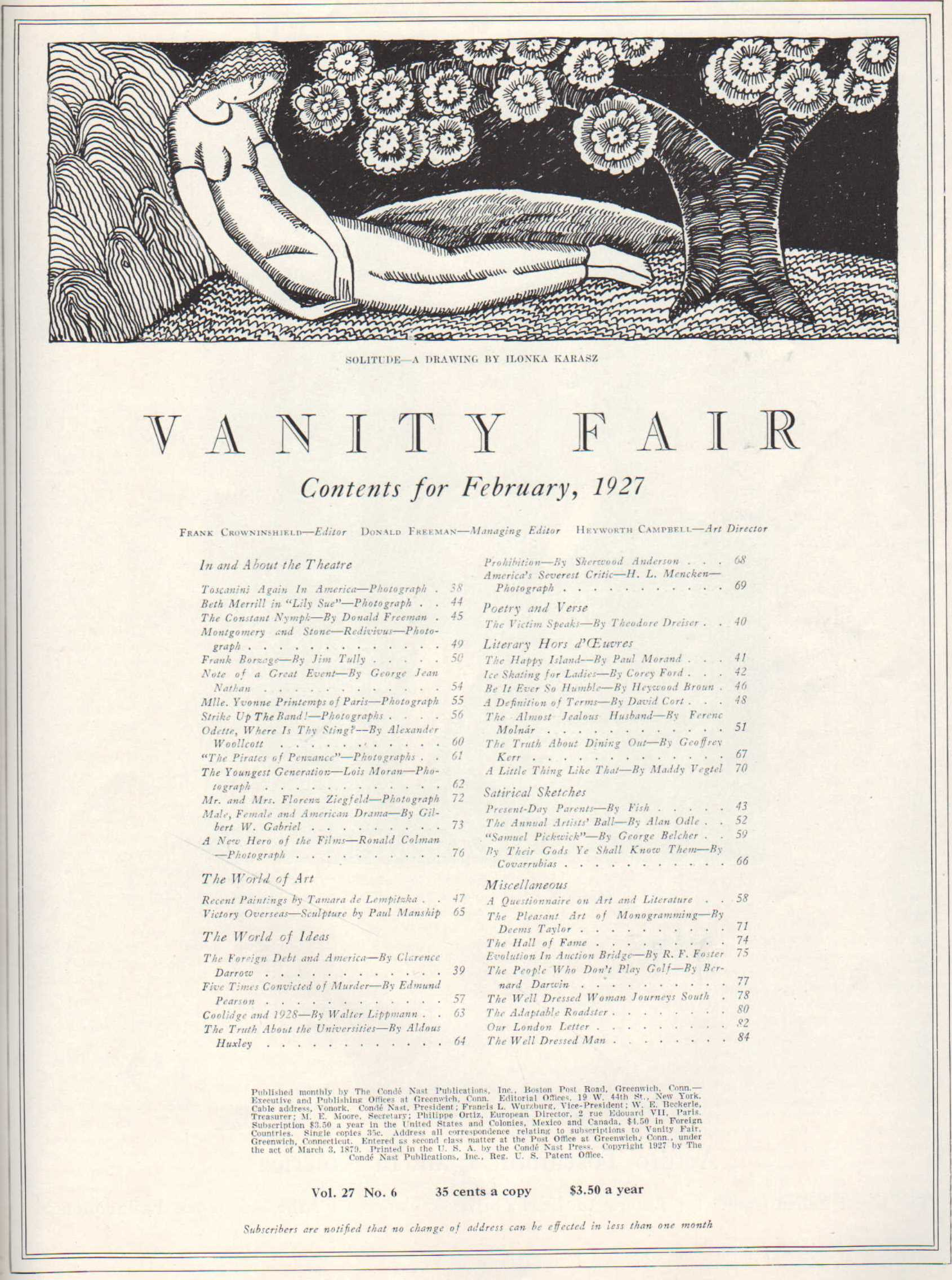 Image for Vanity Fair, February, 1927