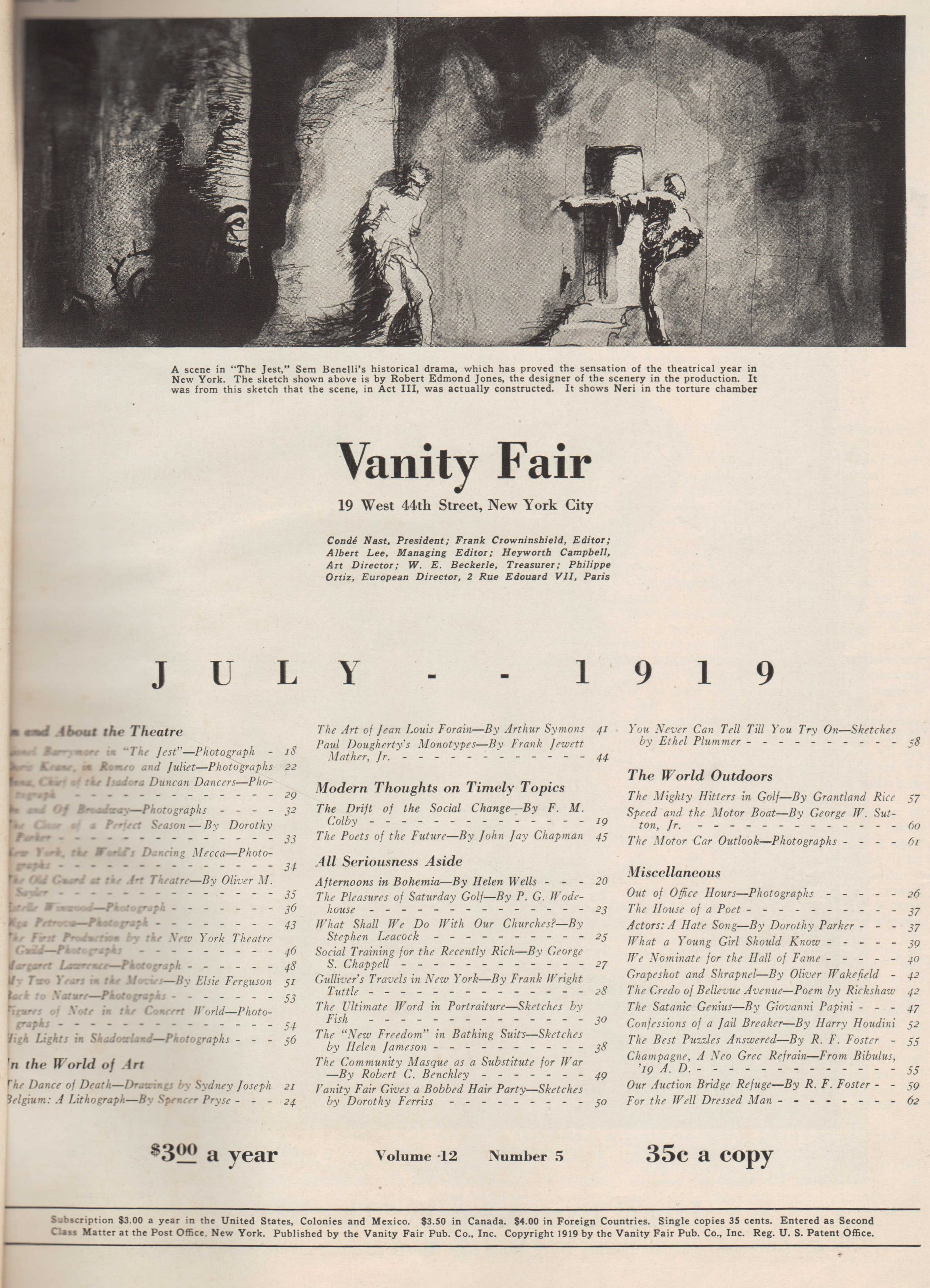 Image for Vanity Fair Magazine, July, 1919