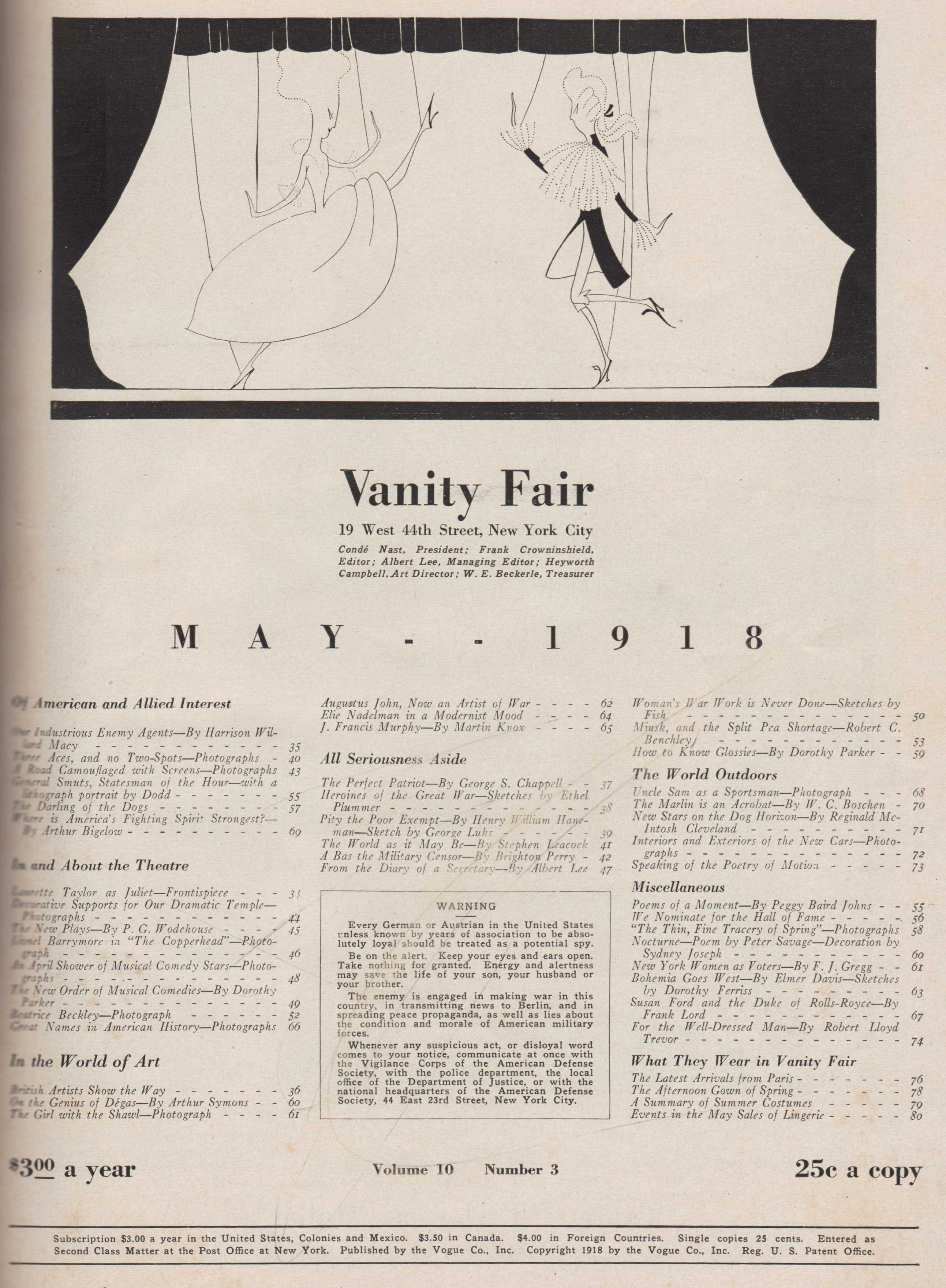 Image for Vanity Fair Magazine, May, 1918. Incl. NY Women as Voters