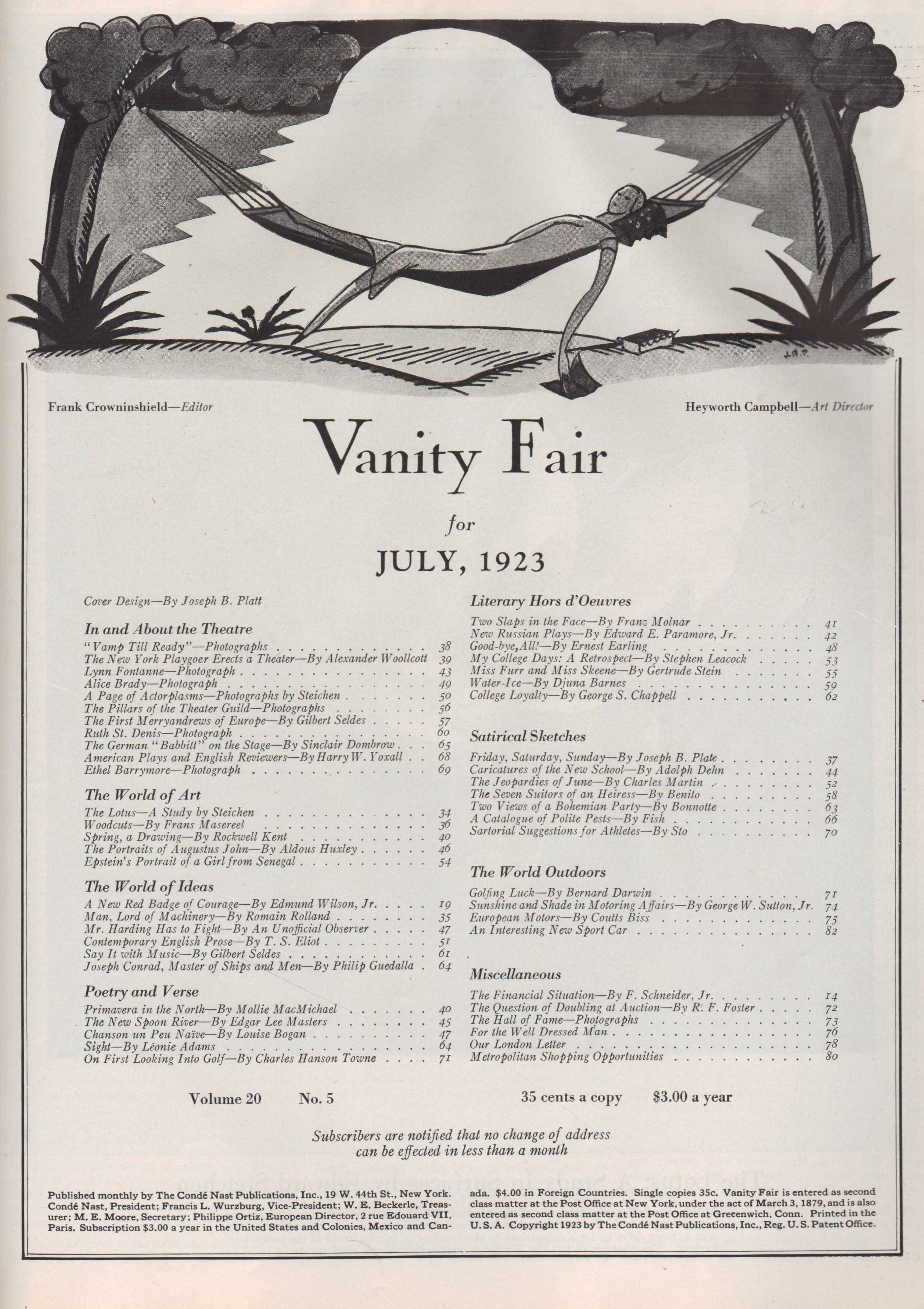 Image for Vanity Fair, July, 1923