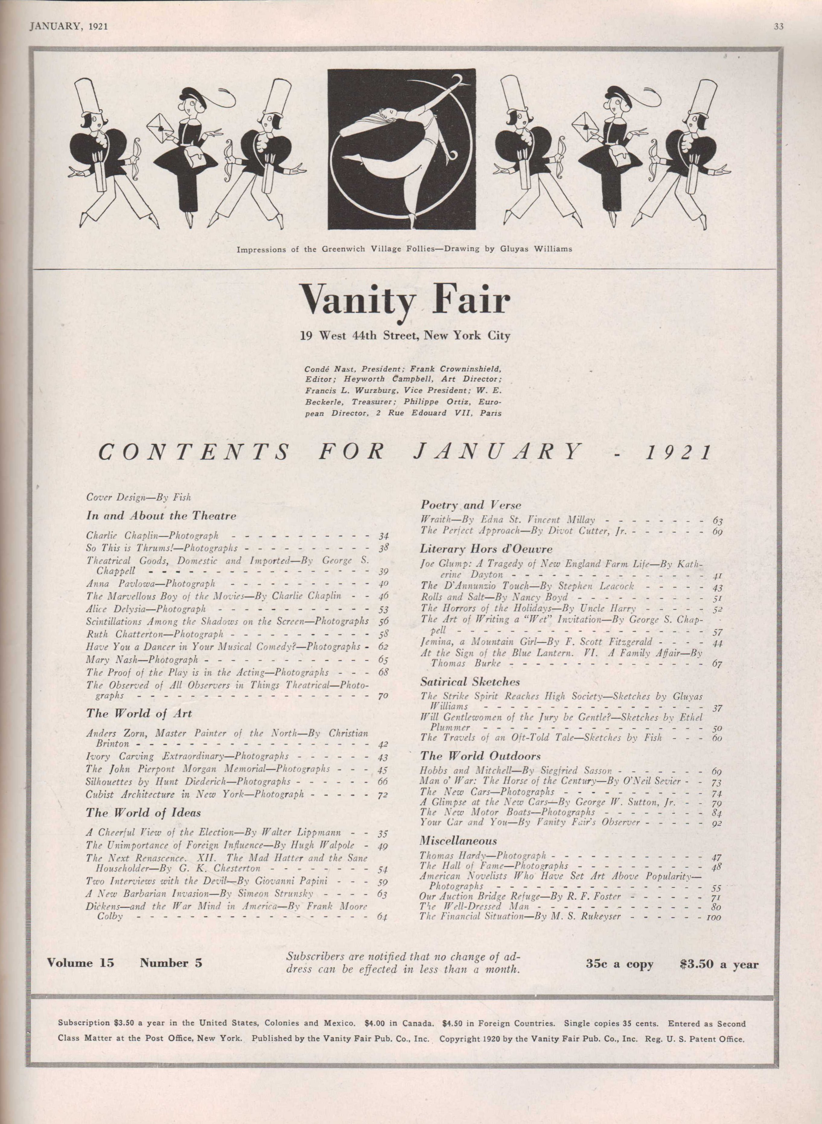 Image for Vanity Fair, January, 1921
