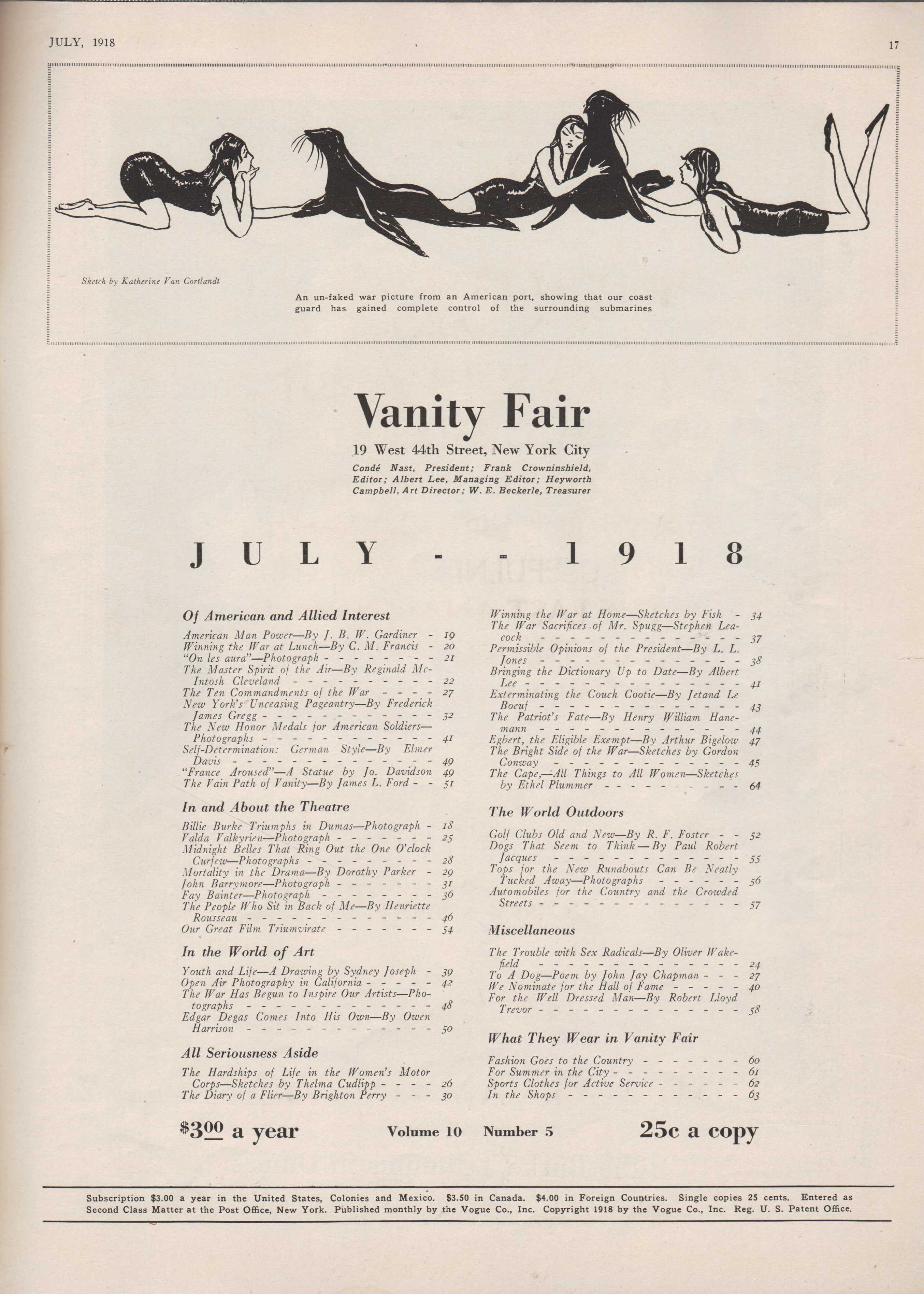 Image for Vanity Fair Magazine, July, 1918