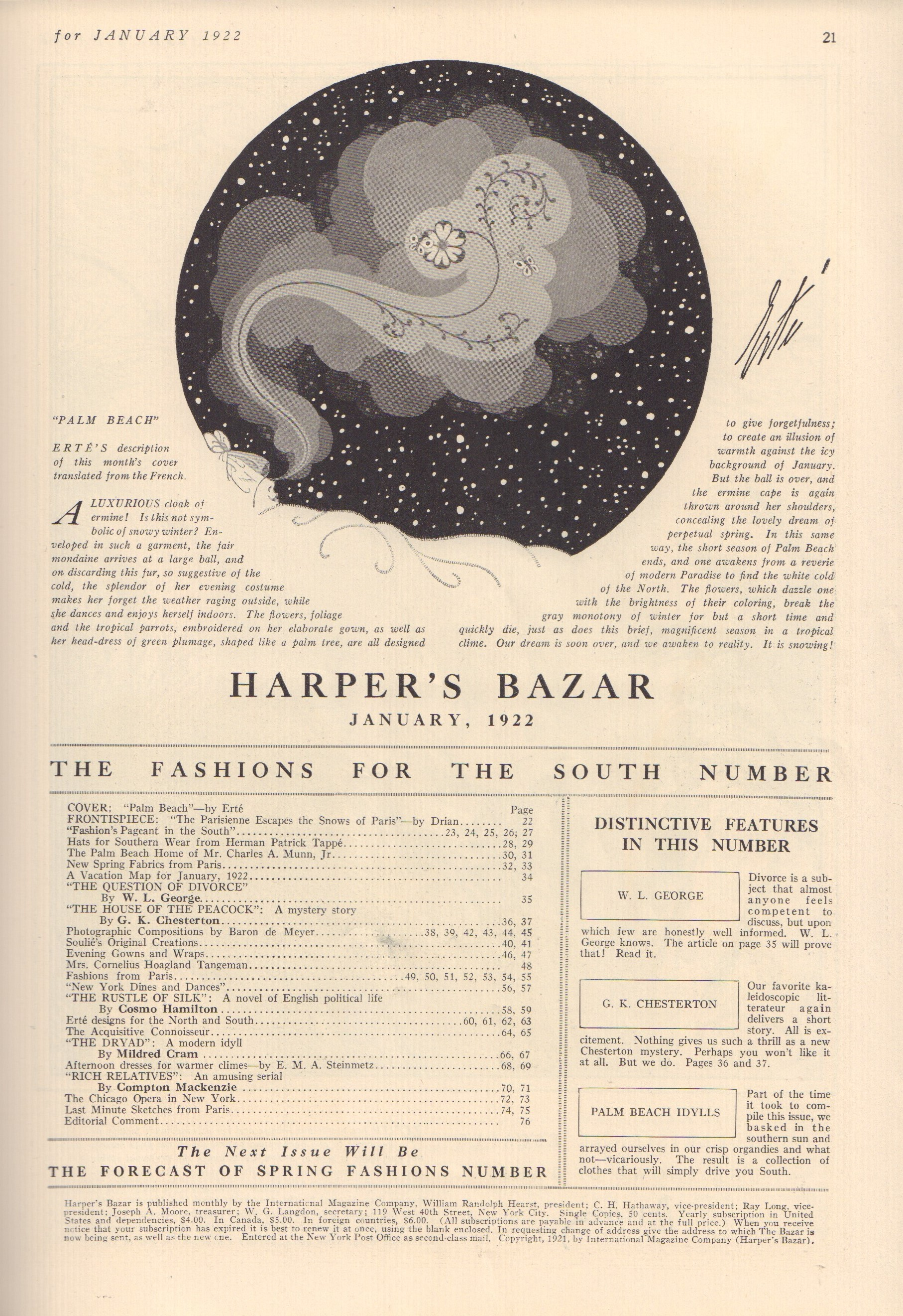 Image for Harper's Bazar (Bazaar) January 1922