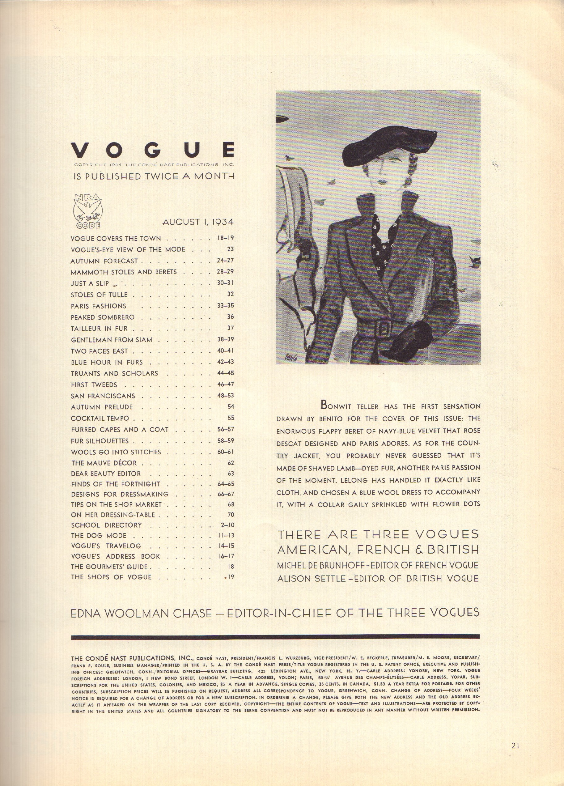 Image for Vogue August 1, 1934