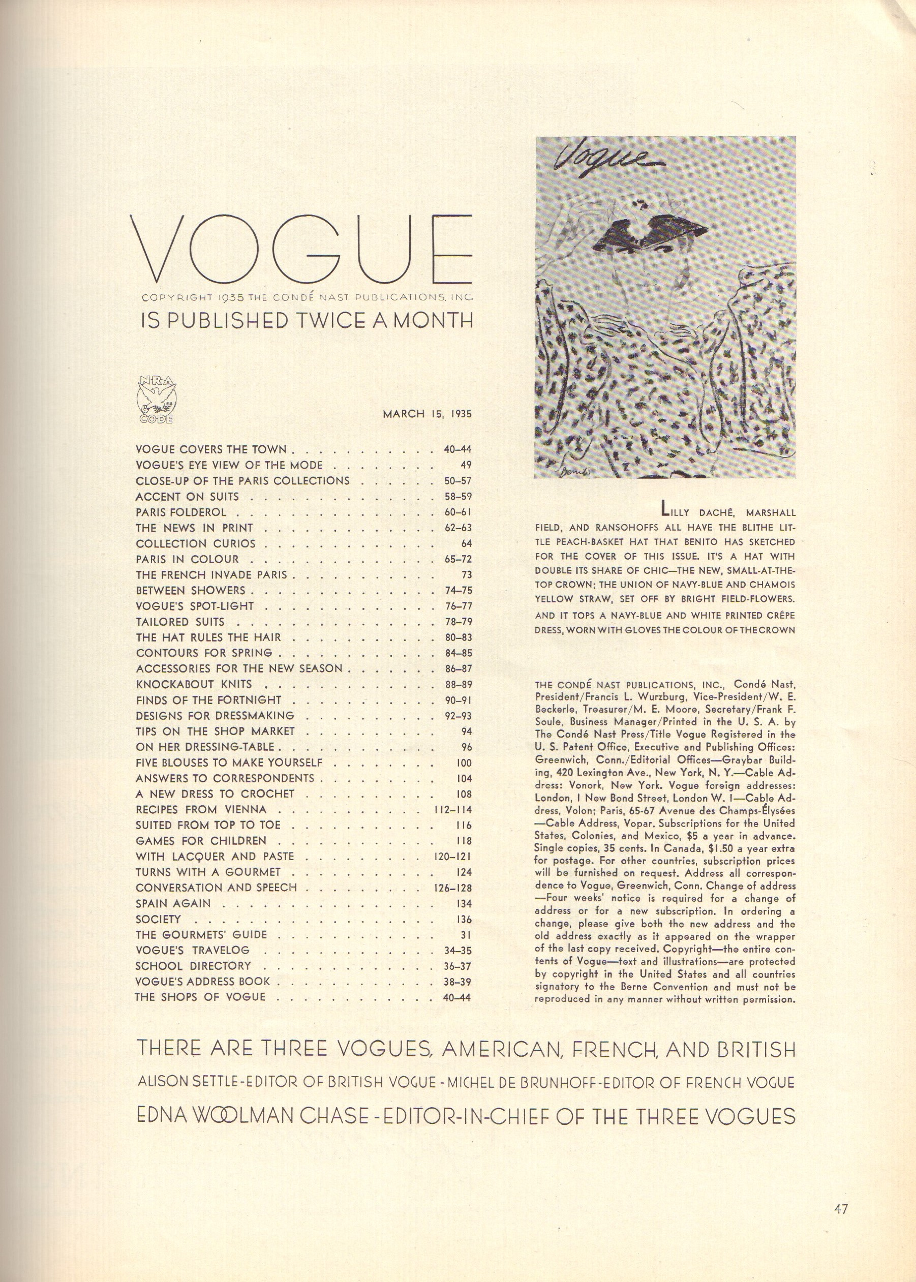 Image for Vogue March 15, 1935