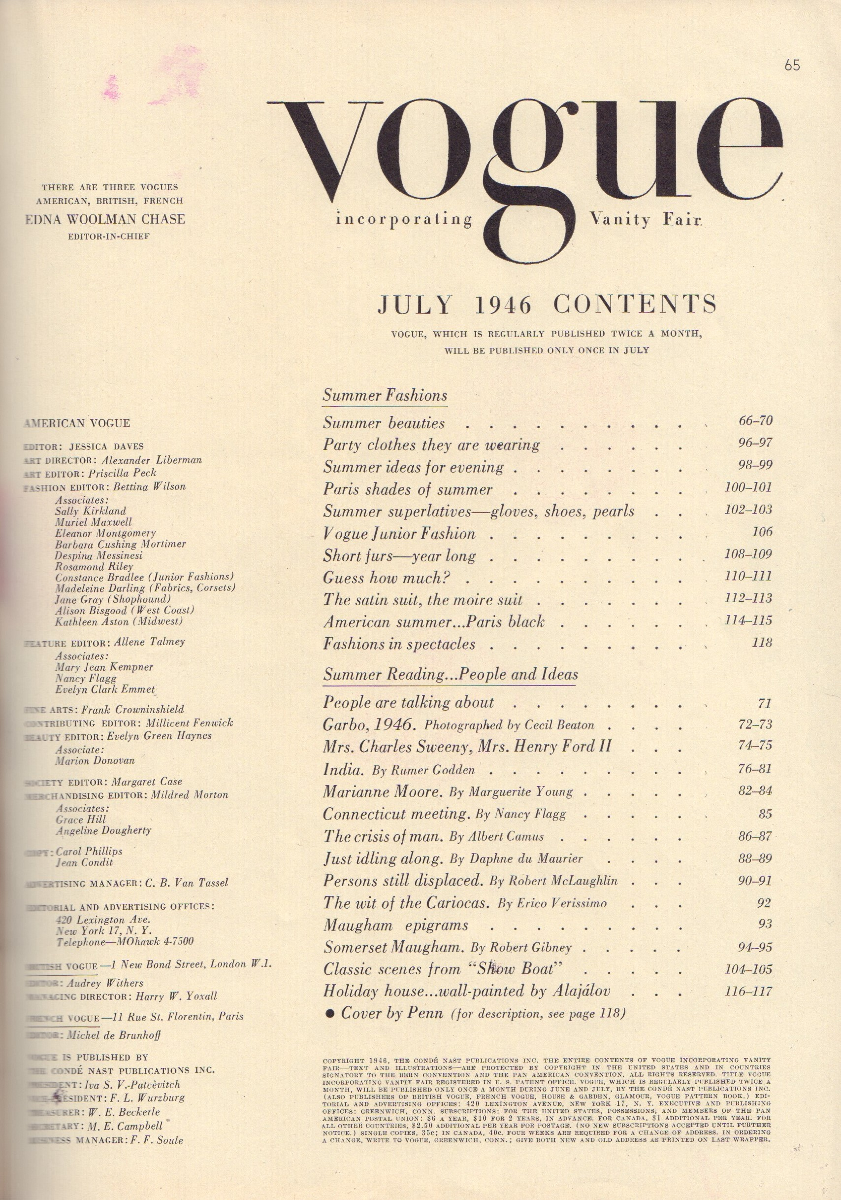 Image for Vogue July 1946