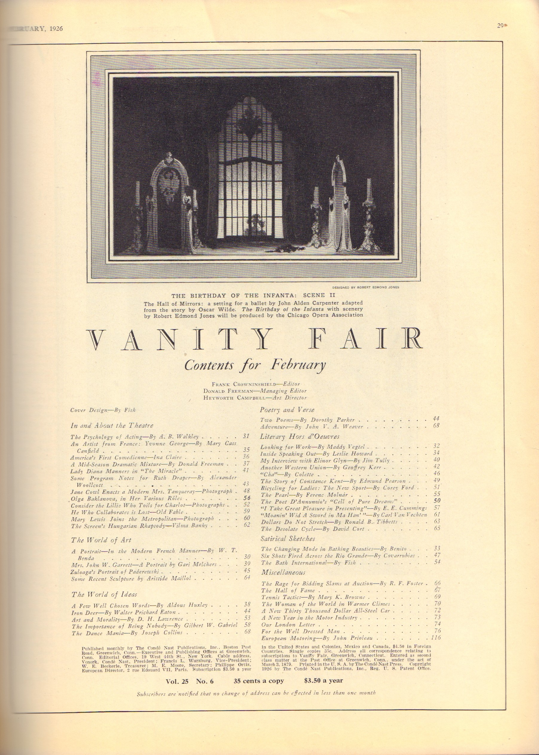 Image for Vanity Fair. February 1926. Cover by Fish.