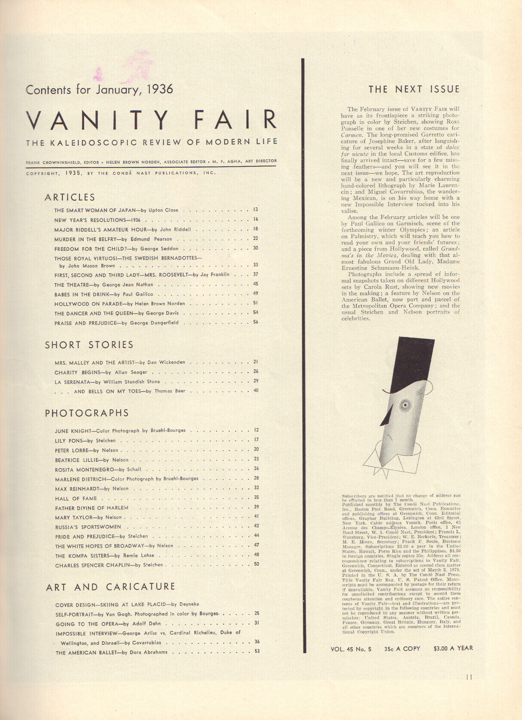 Image for Vanity Fair January 1936
