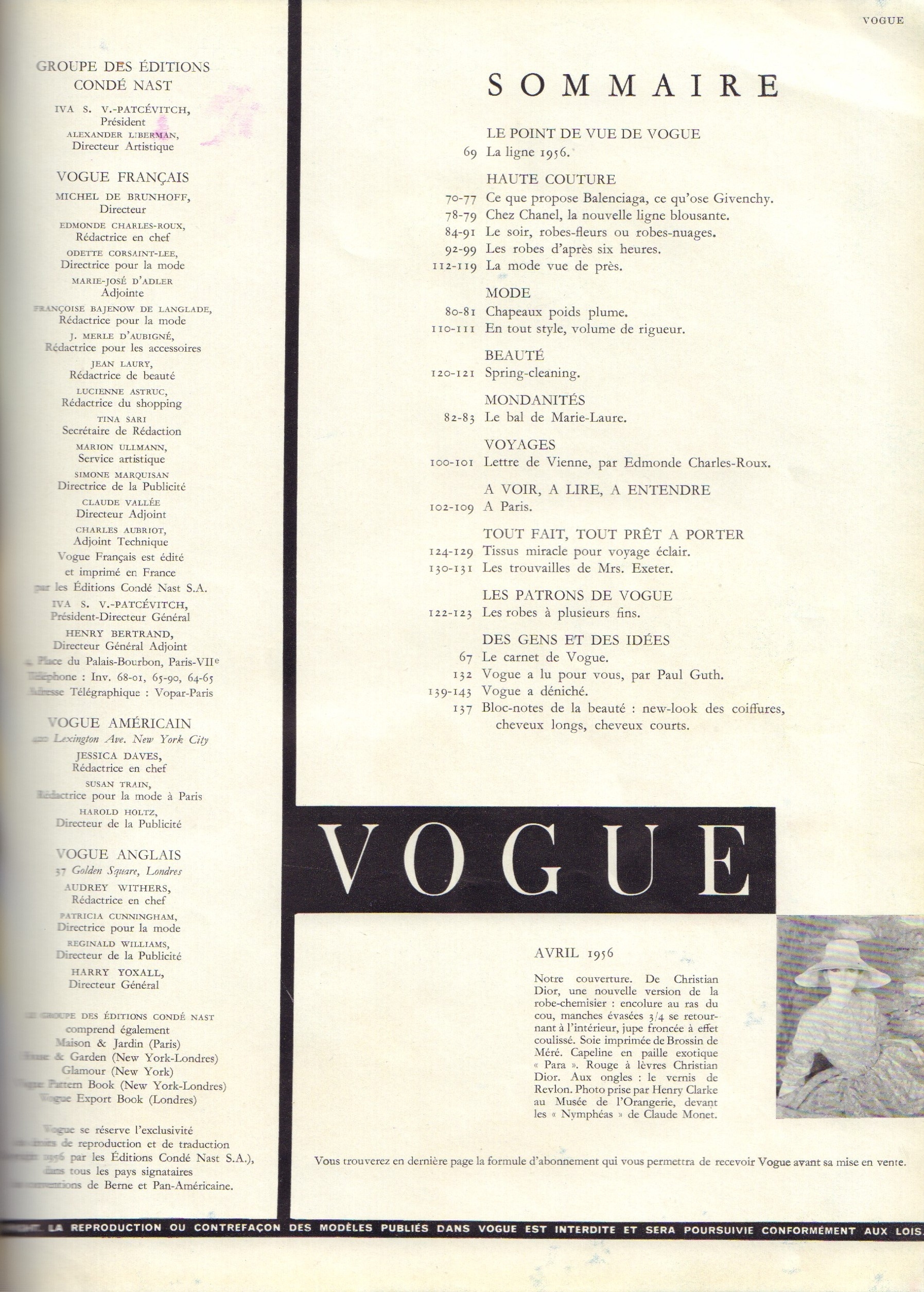 Image for Vogue, Avril 1956 - French edition (April)