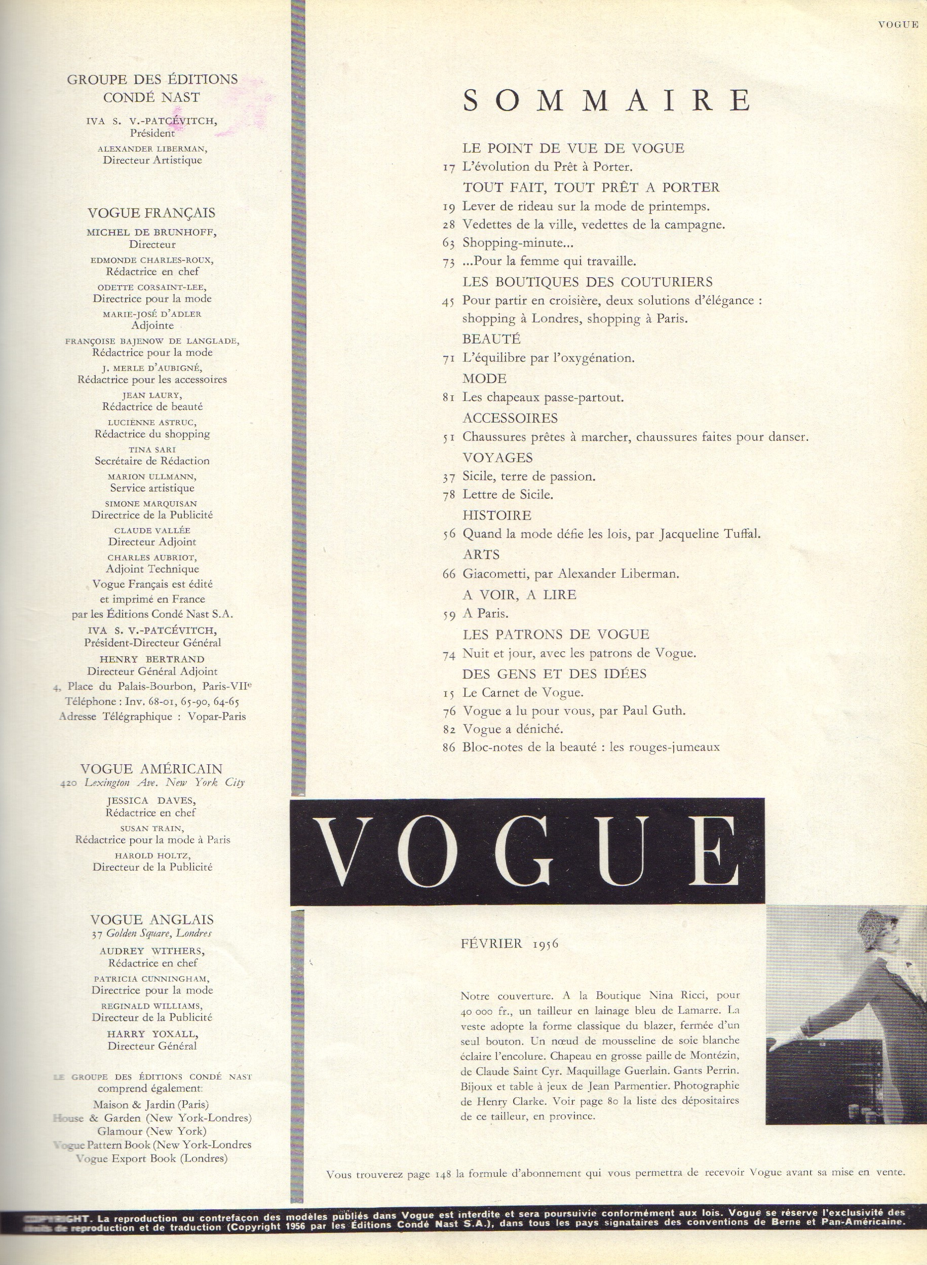 Image for Vogue Fevrier 1956 - French Edition (February)