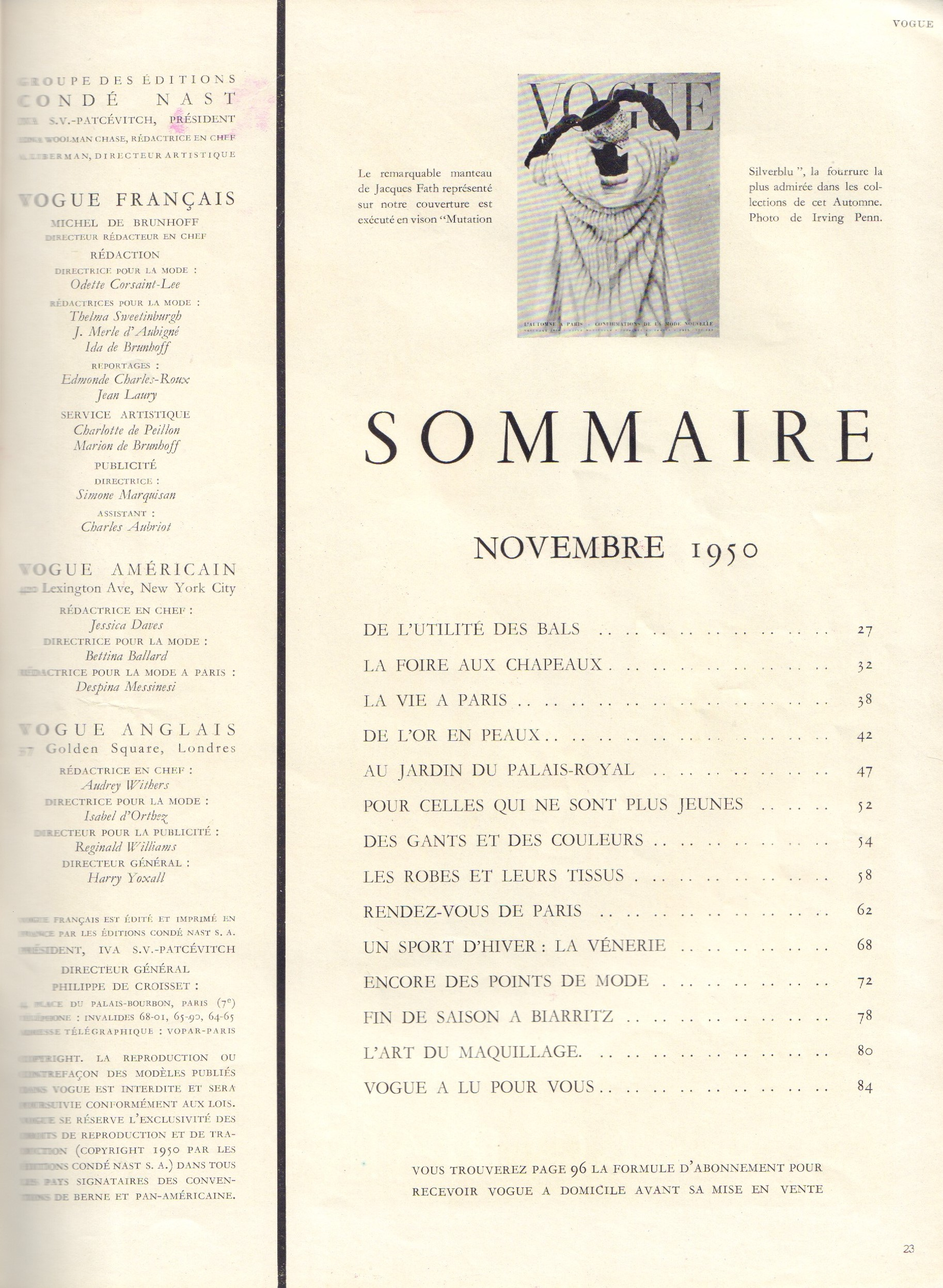 Image for Vogue Novembre 1950 - French edition (November)