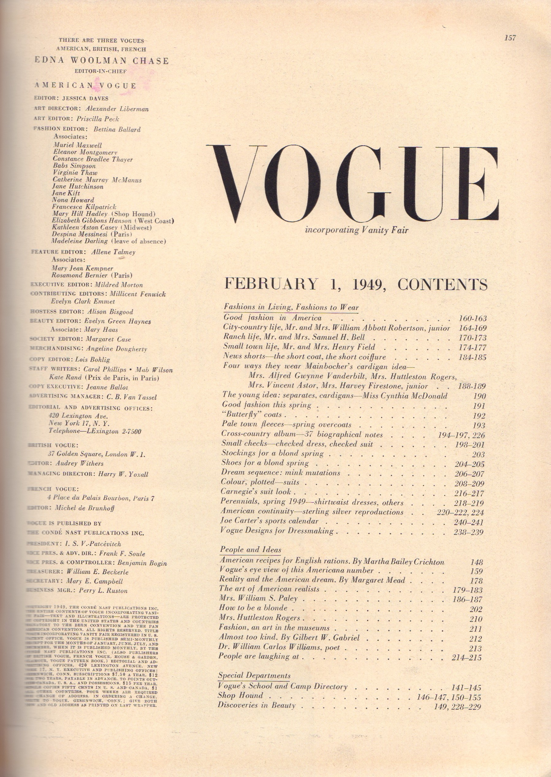Image for Vogue February 1, 1949 - American Number 1949