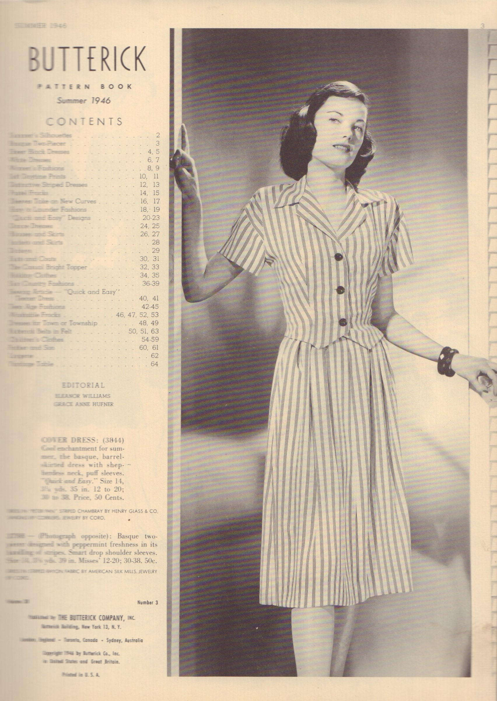 Image for Butterick Pattern Book - Summer 1946 (Volume 38, Number 3)