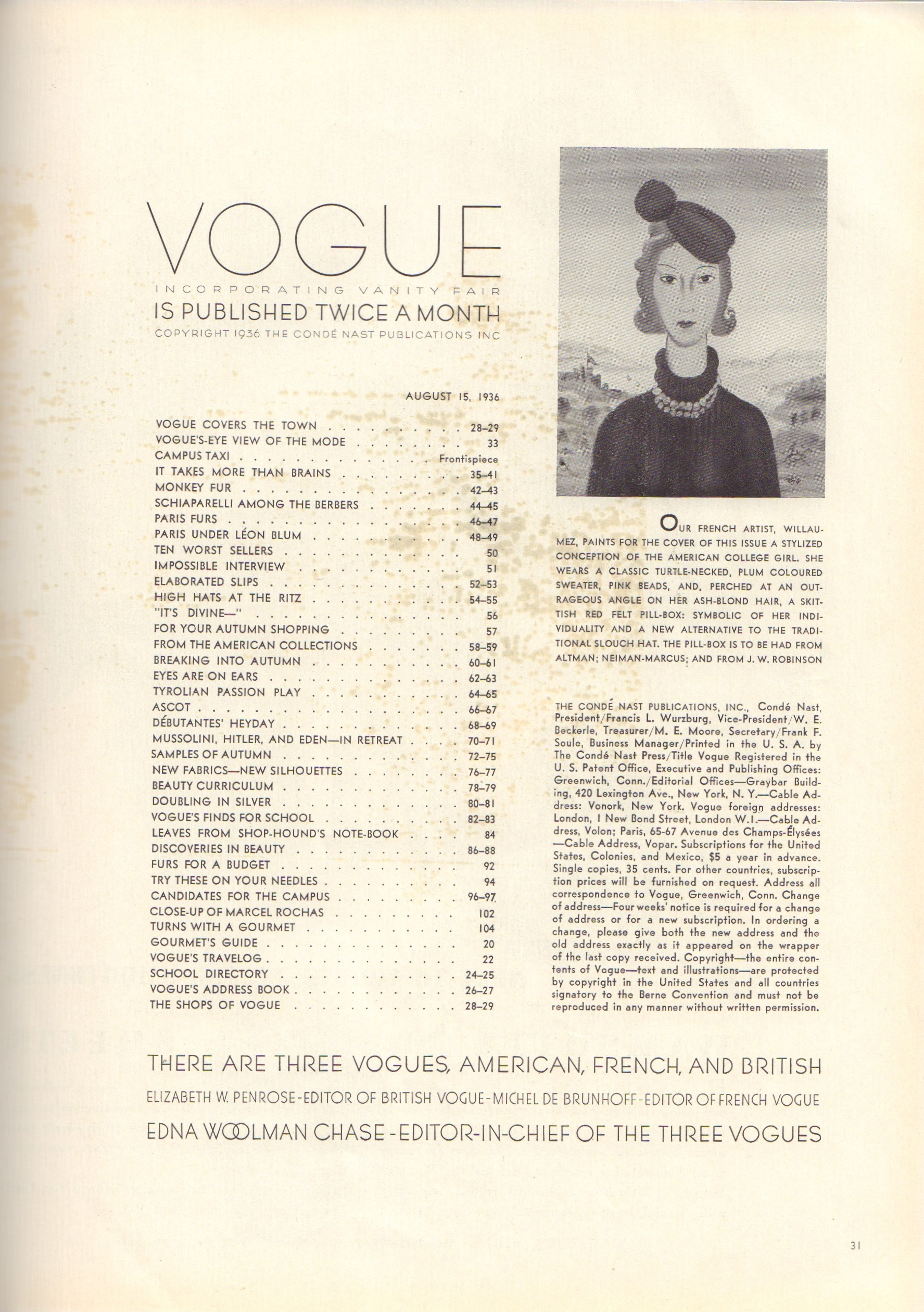 Image for Vogue August 15, 1936