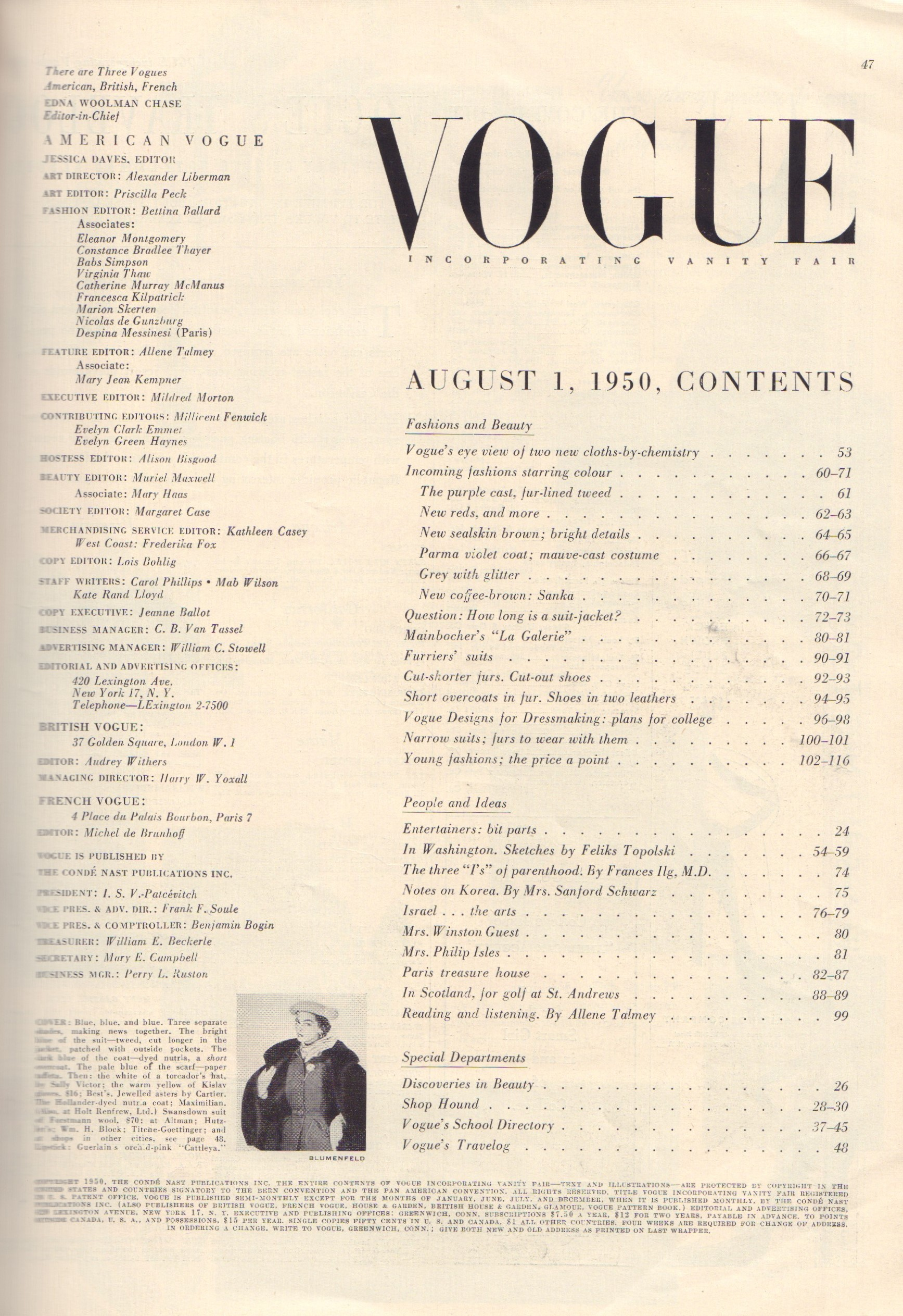 Image for Vogue August 1, 1950