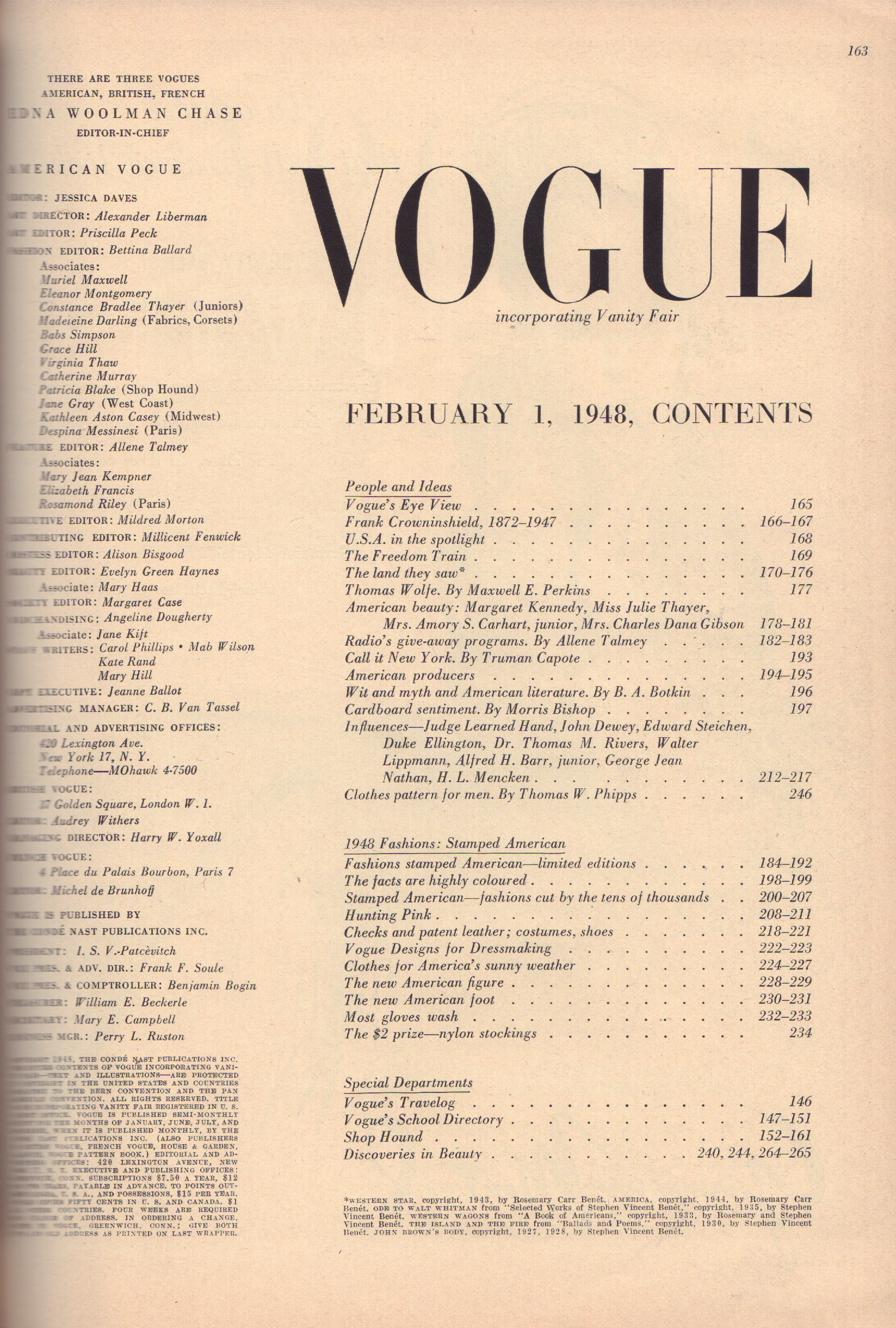 Image for Vogue February 1, 1948 - Americana Number