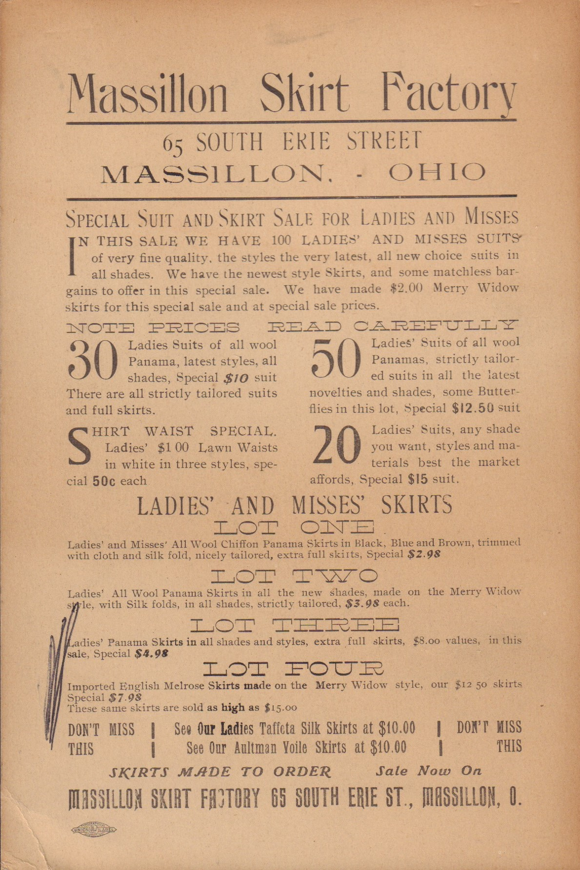Image for Massillon Skirt Factory Advertisement
